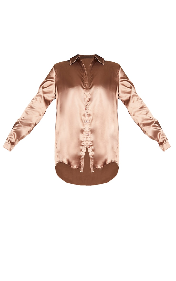 Chocolate Satin Button Front Shirt 5