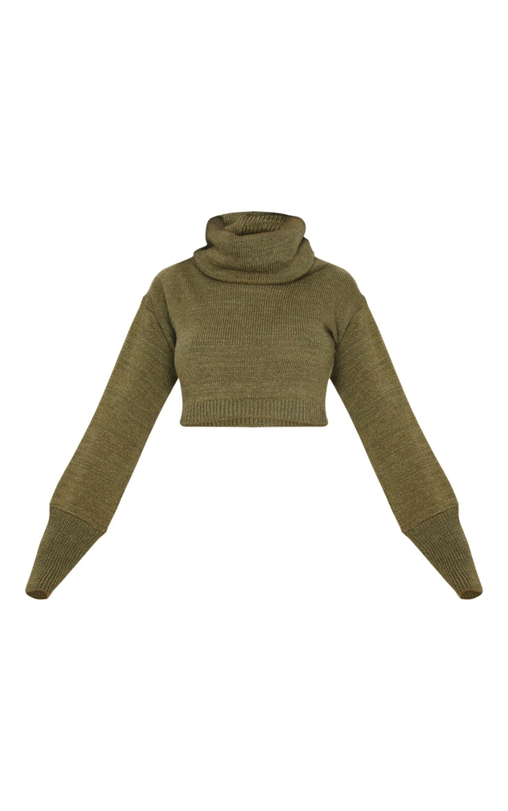 Khaki Roll Neck Cropped Sweater 5