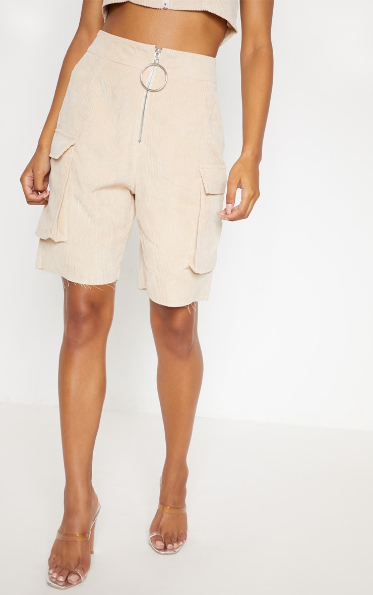 Cream Cord Boyfriend Fit Shorts 2