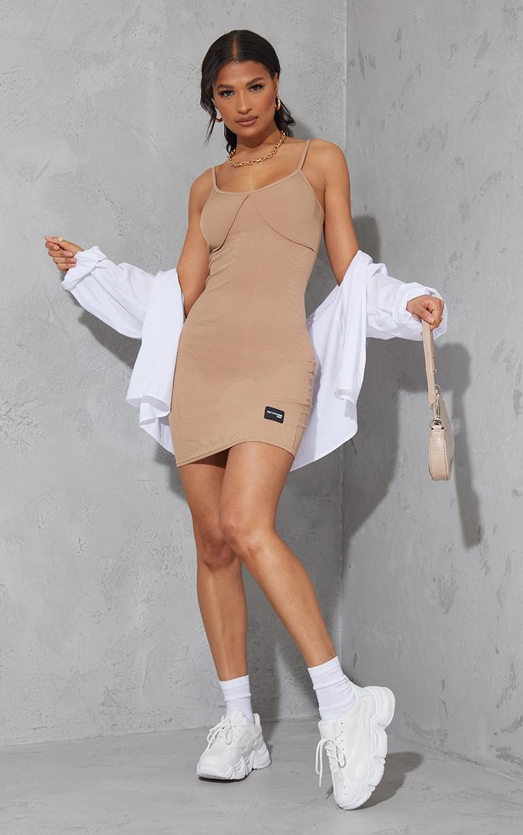 PRETTYLITTLETHING Sand Ribbed Strappy Overlock Stitch Bodycon Dress 3