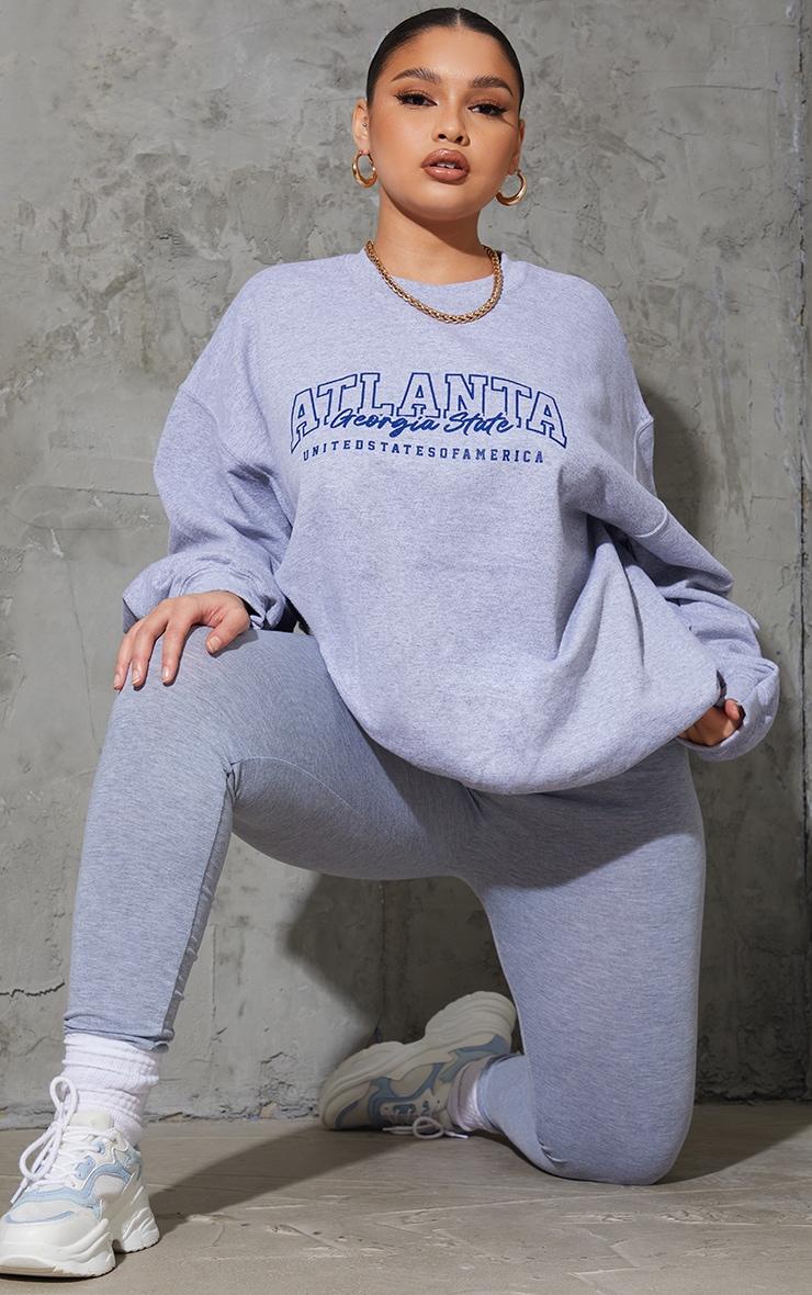 Plus Grey Atlanta Slogan Sweatshirt 1