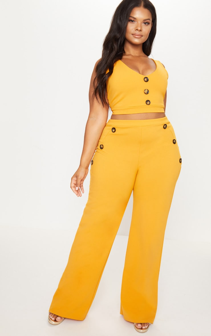 Plus Mustard Tortoise Button Detail Crop Top 4