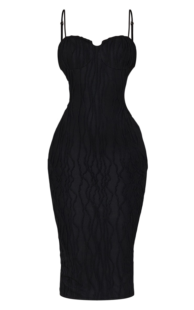 Black Exposed Seam Strappy Cut Out Cup Detail Midi Dress 5