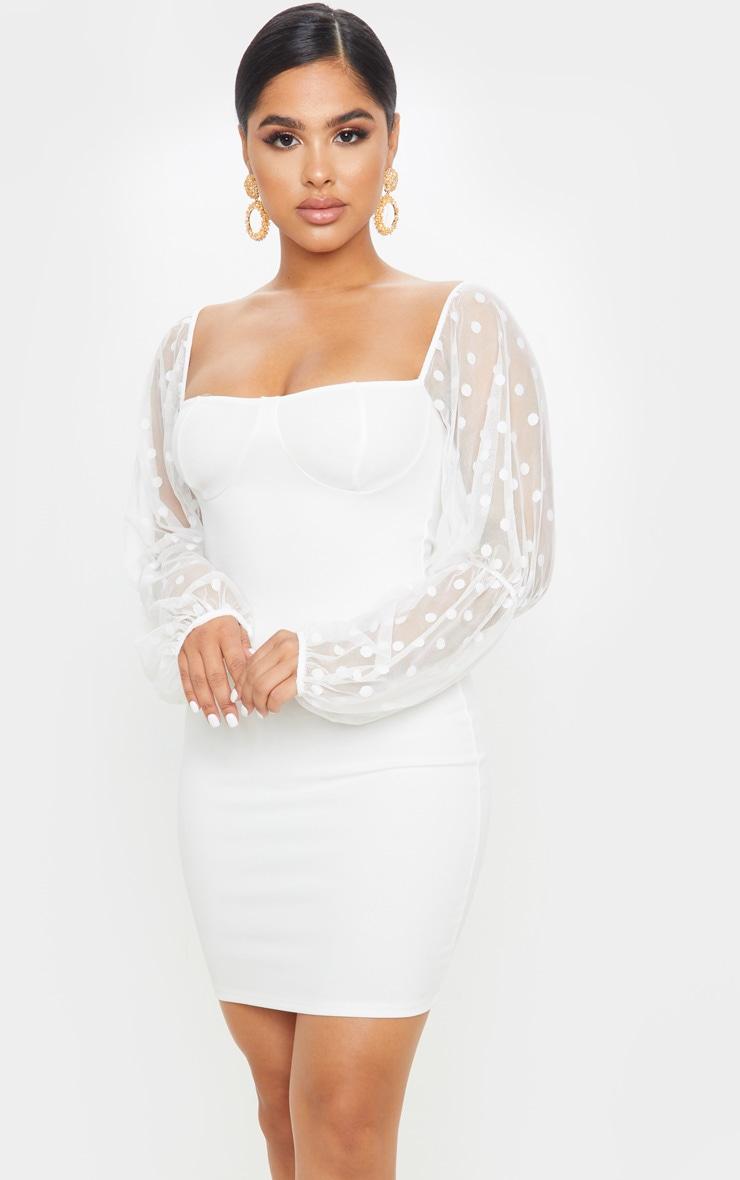 Petite White Dobby Mesh Puff Sleeve Mini Dress  1