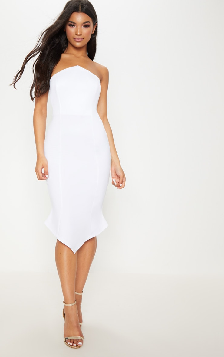 White Pointy Hem Midi Dress 1