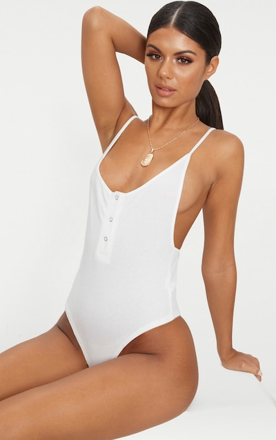 Cream Rib Popper Front Scoop Back Thong Bodysuit