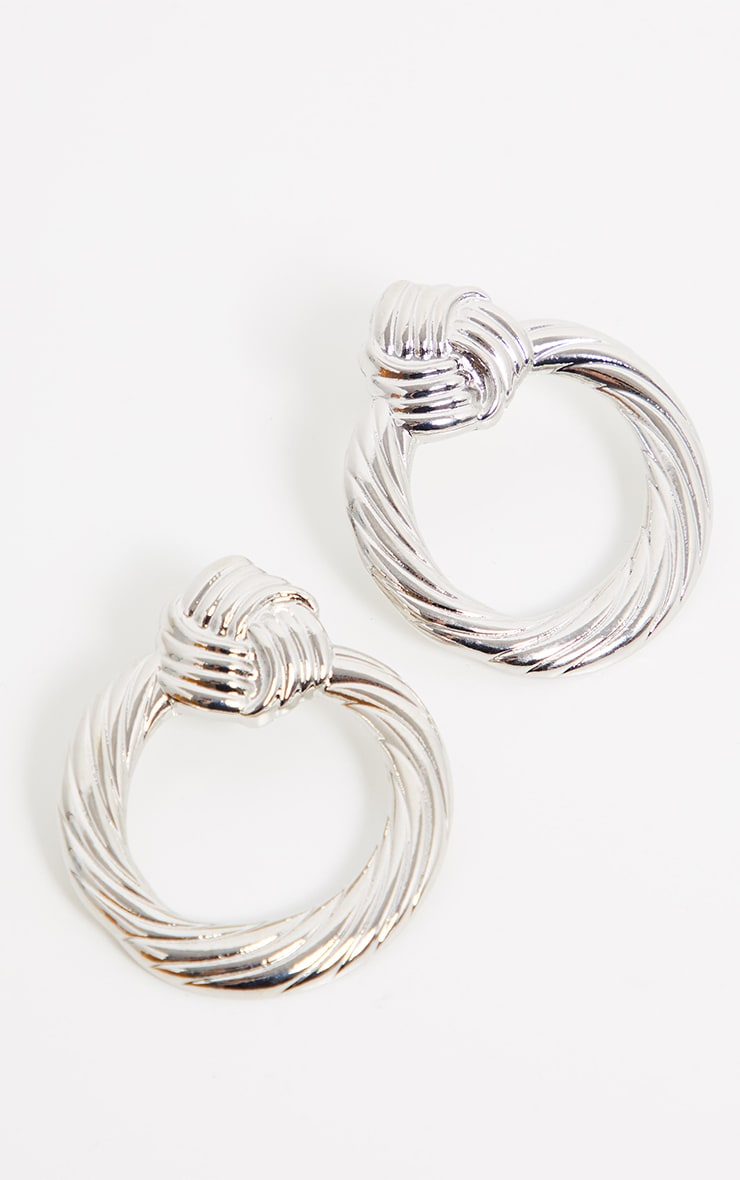 Silver Chunky Knot Hoop Earrings 2