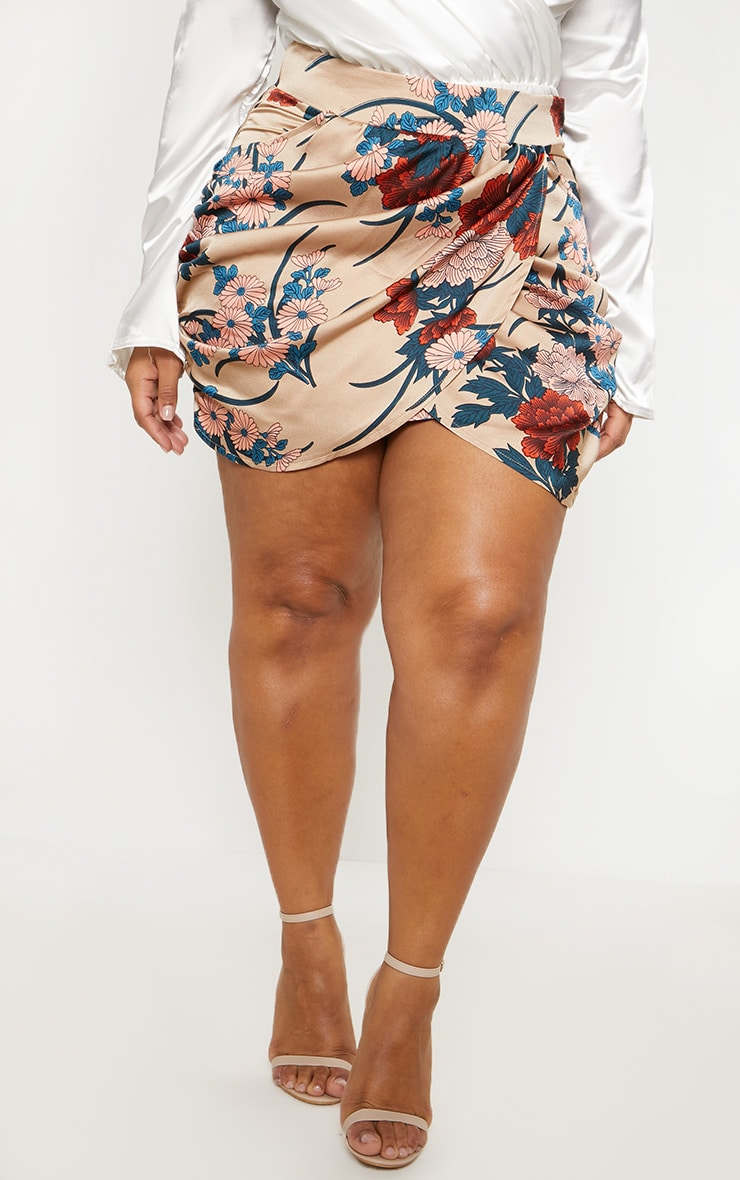 Plus Nude Satin Floral Print Gathered Mini Skirt 2
