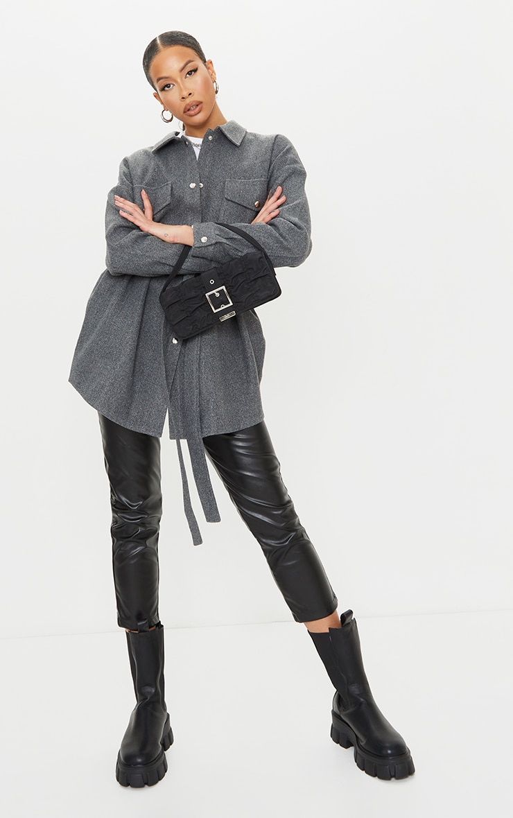 Tall Grey Oversized Wrapped Shacket