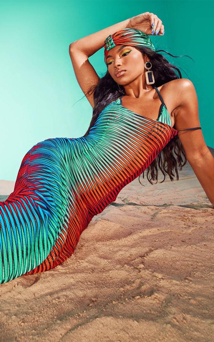 Multi Laser Cut Striped Maxi Beach Dress 1