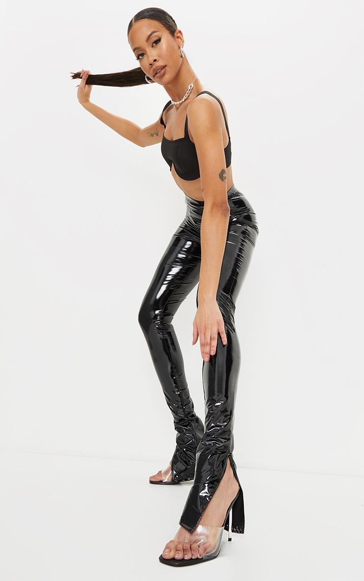 Tall Black Split Hem High Waisted Flared Vinyl Pants 1