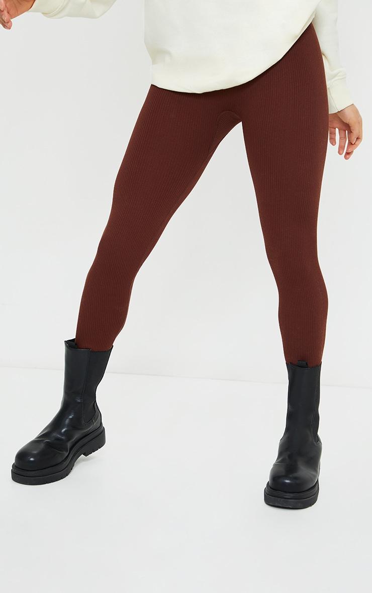 Petite Chocolate Structured Contour Rib Leggings 2