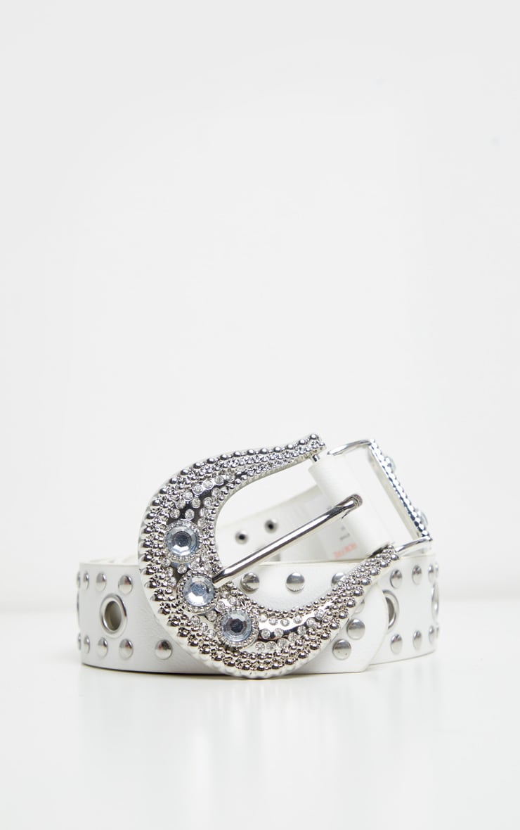 White Diamante Buckle Studded Western Belt 2
