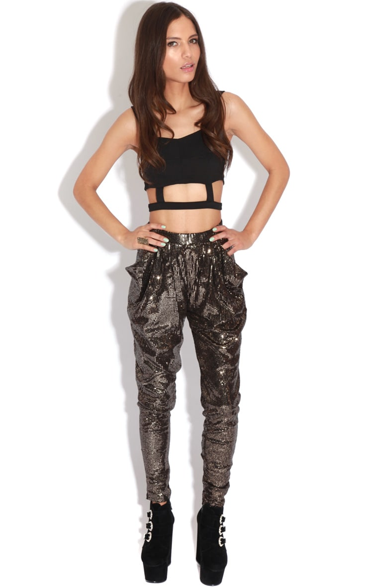 Lucia Gold Sequin High Waist Trousers  5