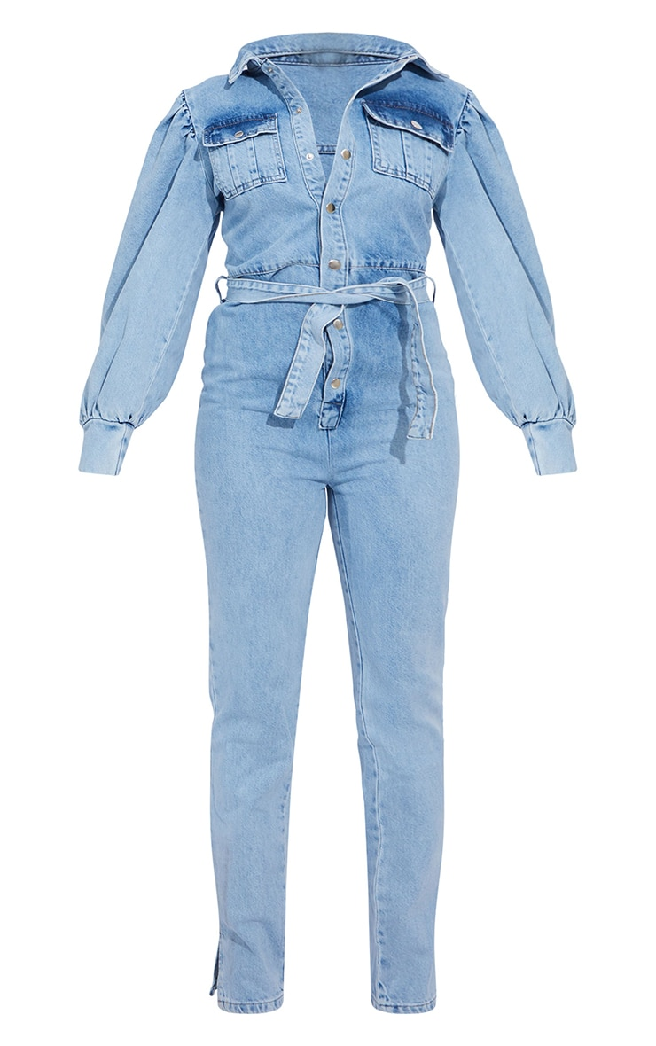 Petite Bleach Wash Balloon Sleeve Denim Split Hem Jumpsuit 5