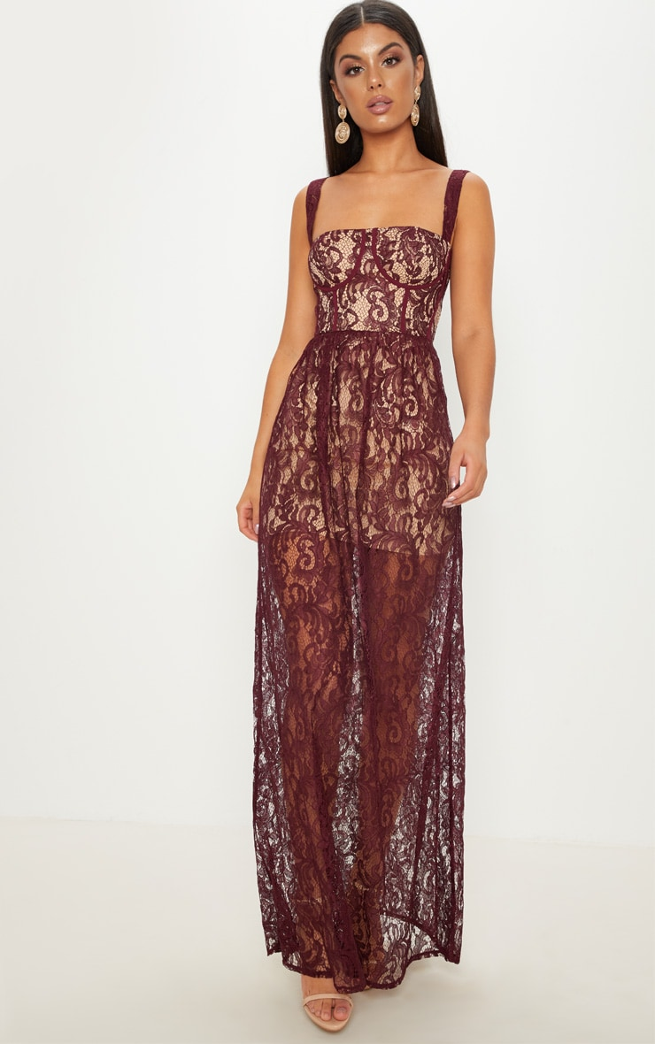 Burgundy Lace Cup Detail Floaty Maxi Dress 1