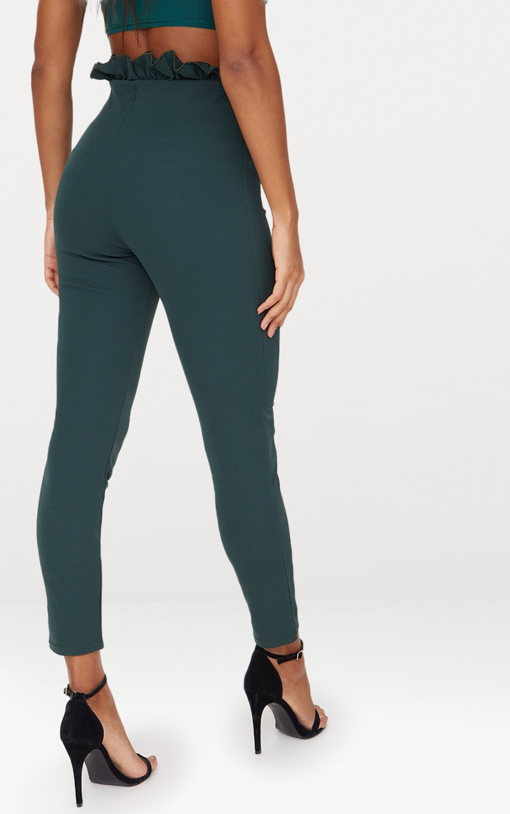 Emerald Green Paperbag Skinny Trousers 4