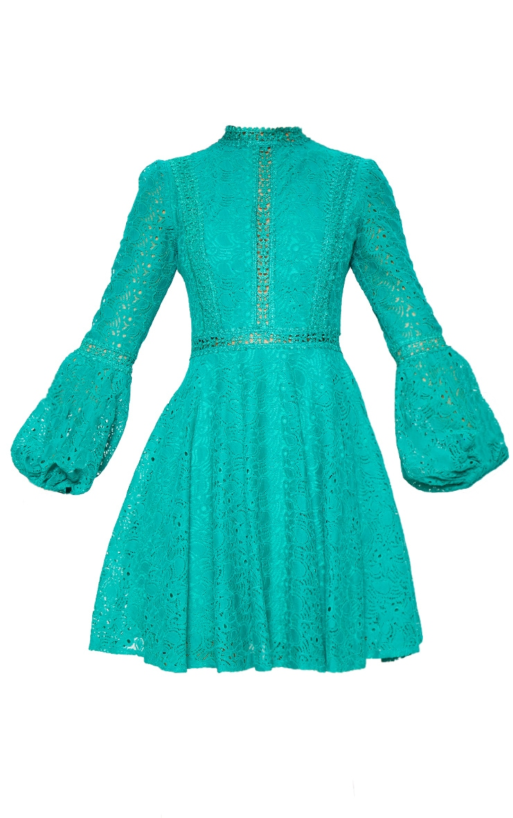 Green Lace Long Sleeve Skater Dress 3