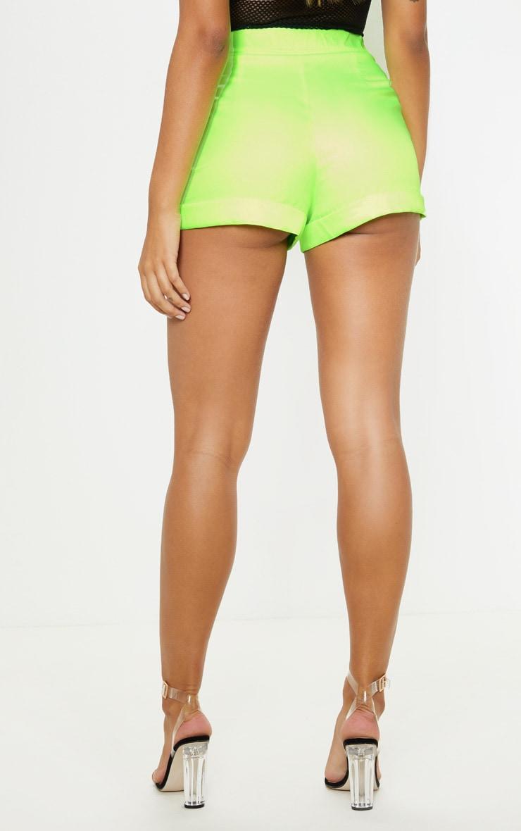 Neon Lime Woven Belted Turn Up Hem Short  4