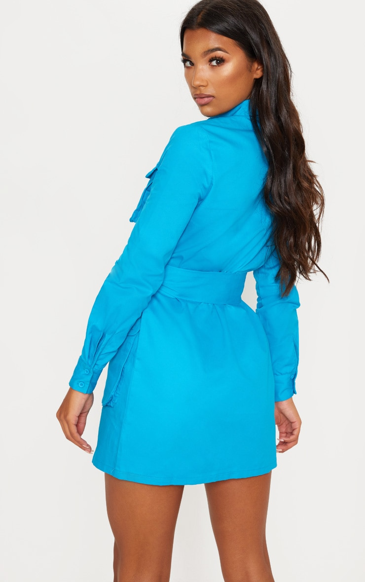 Blue Utility Tie Waist Shirt Dress 2