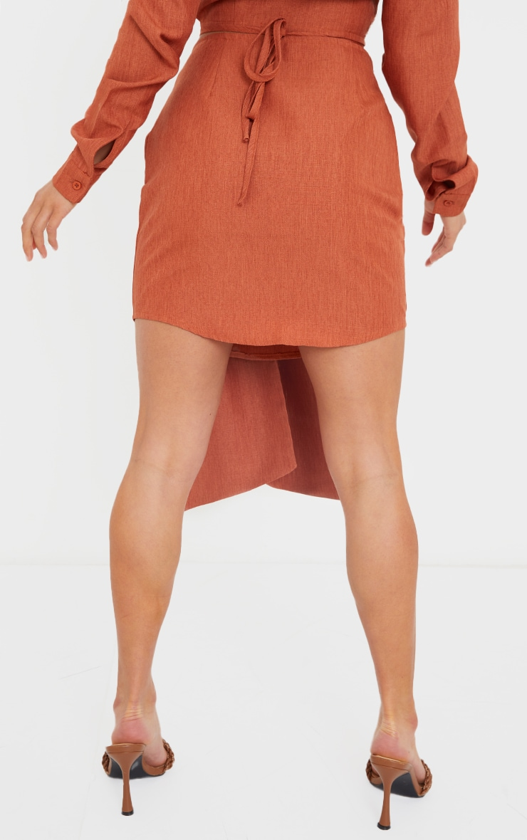 Petite Burnt Orange Wrap Over Bodycon Skirt 3