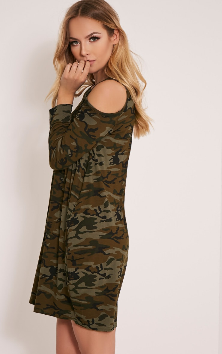 Bronwyn Khaki Camouflage Cold Shoulder Dress 4