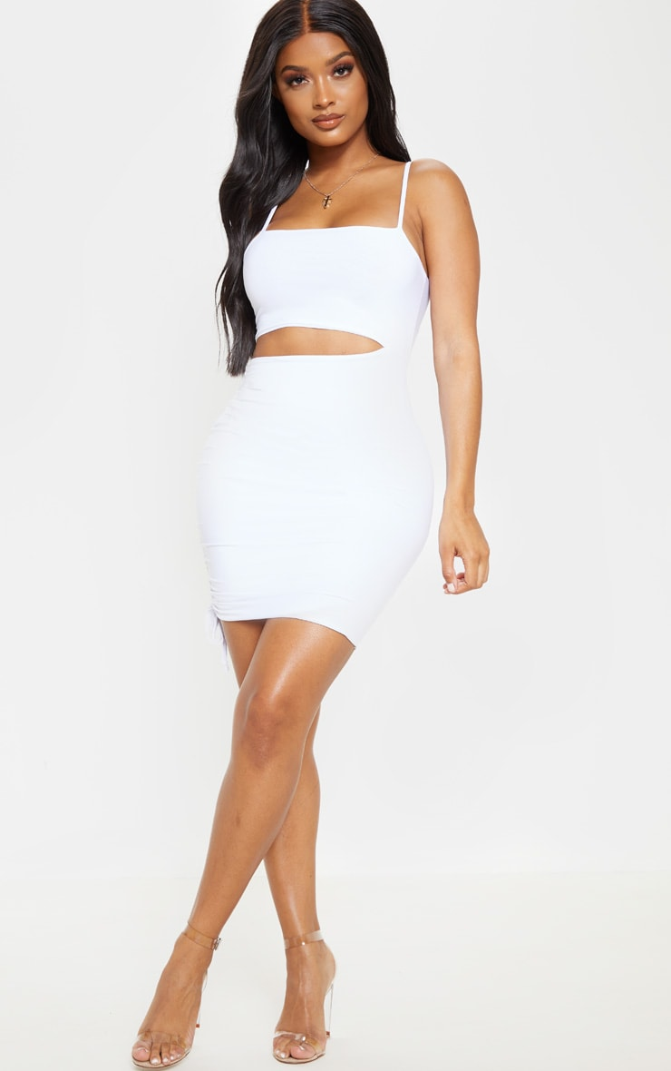 Shape White Slinky Cut Out Side Ruched Bodycon Dress 4