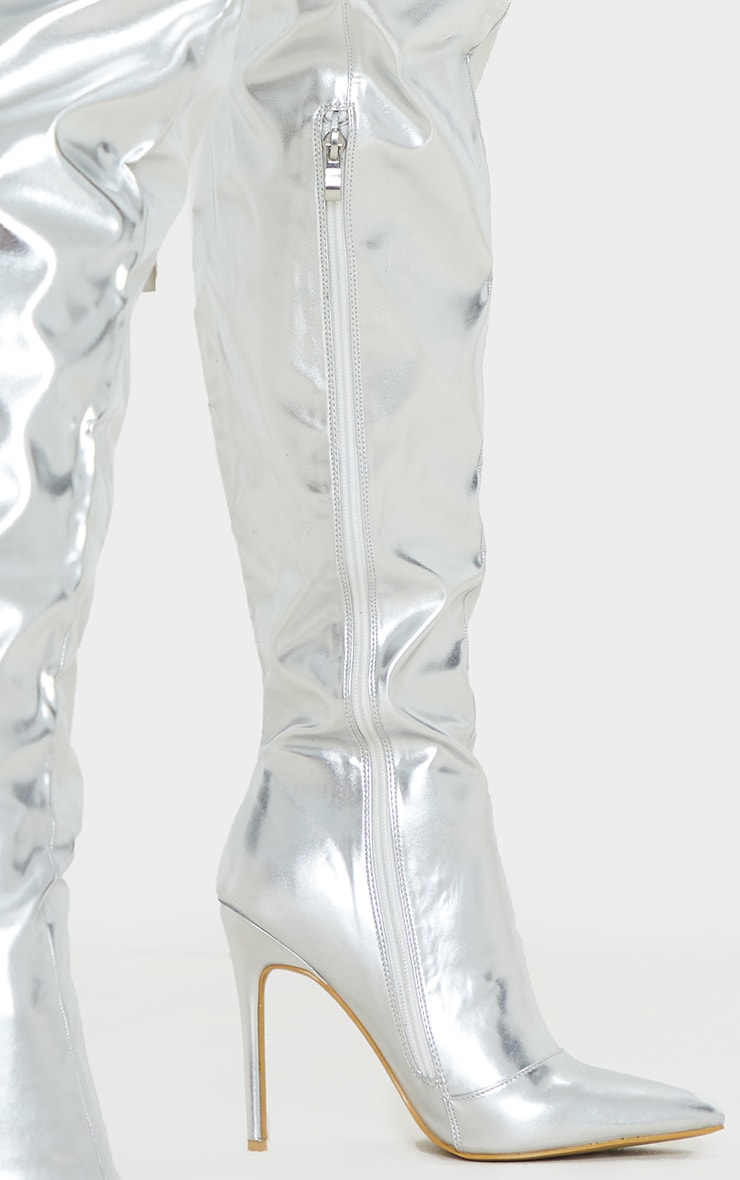 Silver Metallic Stiletto Thigh High Boot 3