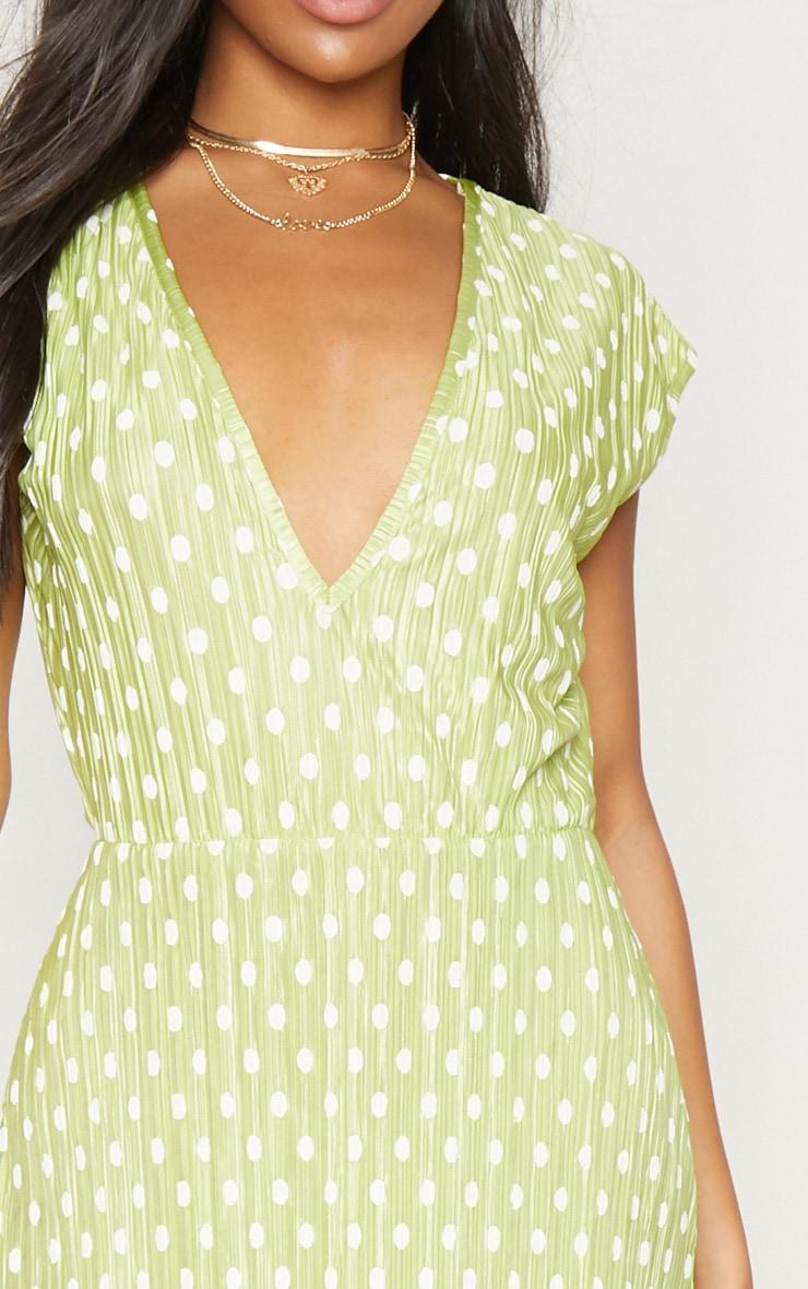 Lime Polka Dot Plisse Plunge Maxi Dress 5