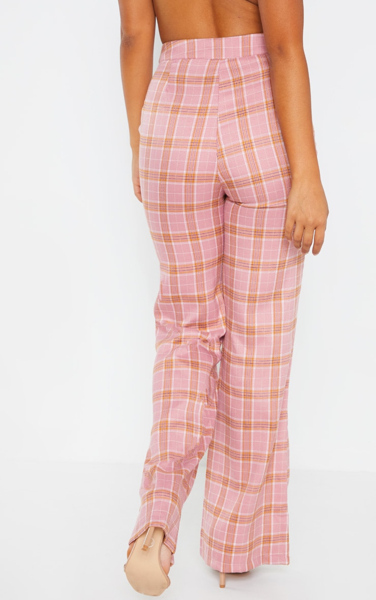 Petite Coral Checked Trousers 4
