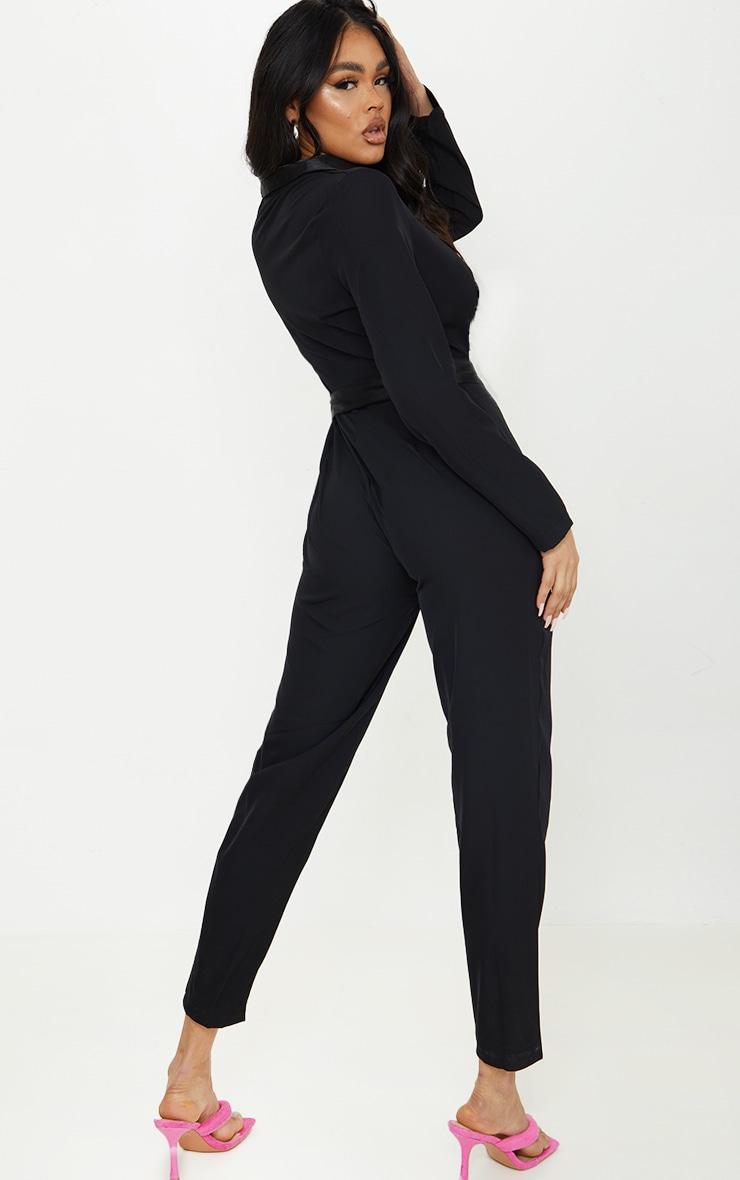 Black Satin Lapel Blazer Jumpsuit 2