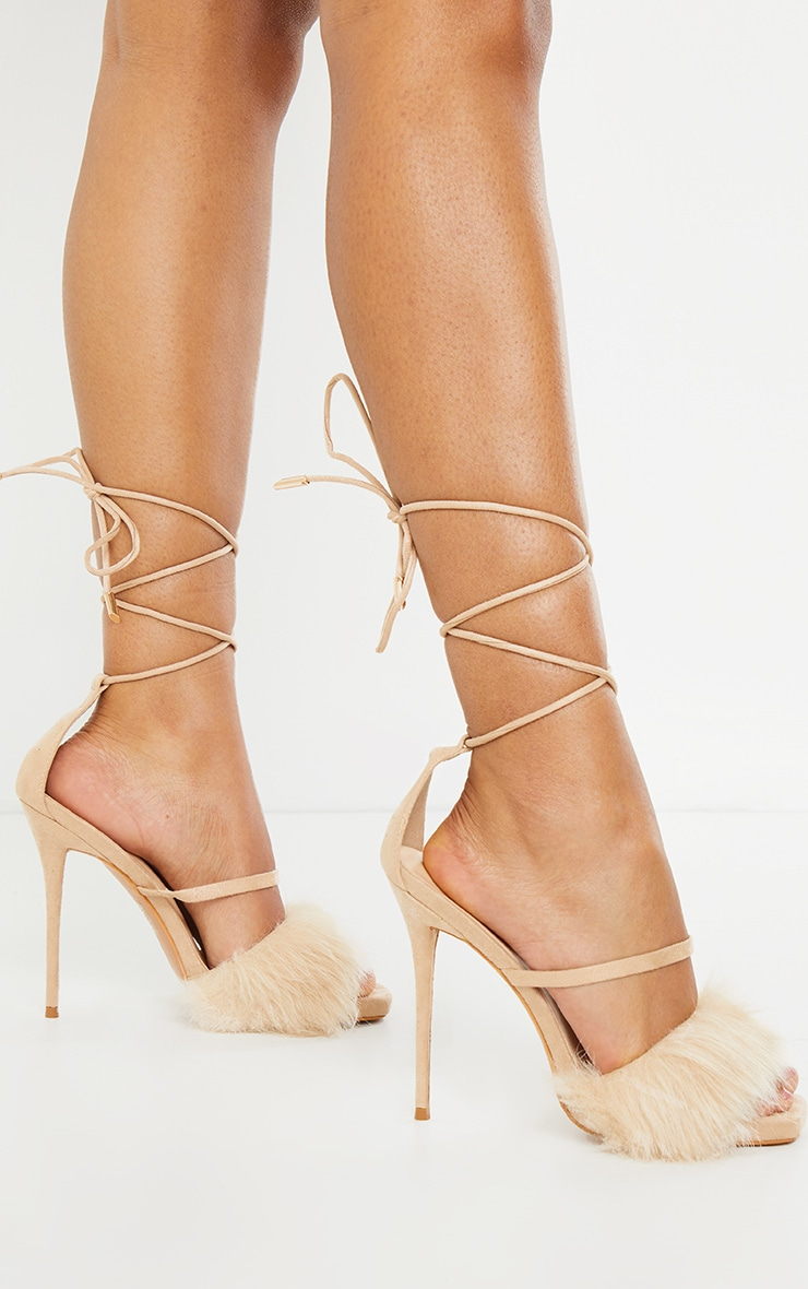 Nude Faux Fur Lace Up High Heels 2