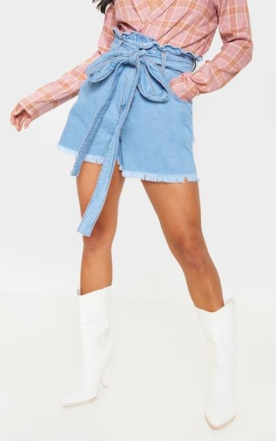 Petite Light Wash Paper Bag Tie Waist Denim Shorts