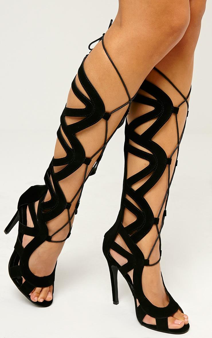 Vogue Black Faux Suede Cut Out Boots 3