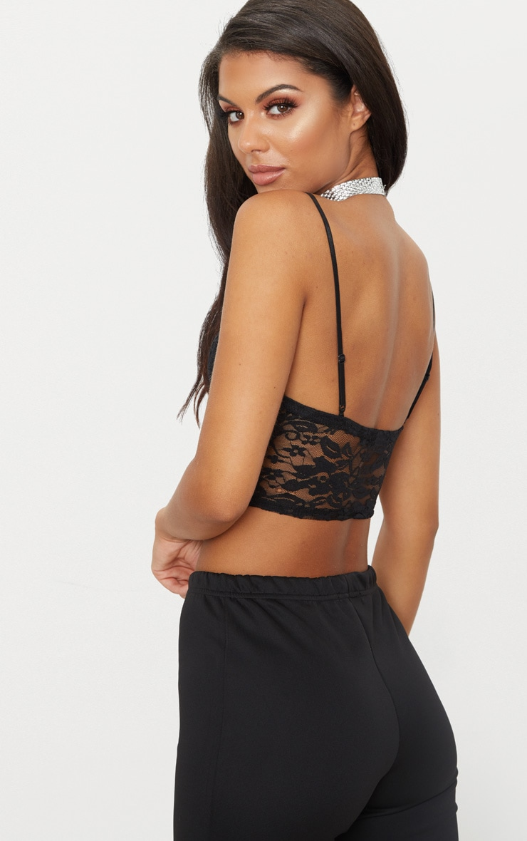Black Lace Cup Detail Hook And Eye Bralet  2