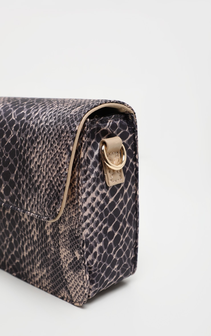 Natural Snake Print Nude Strap Cross Body Bag 5