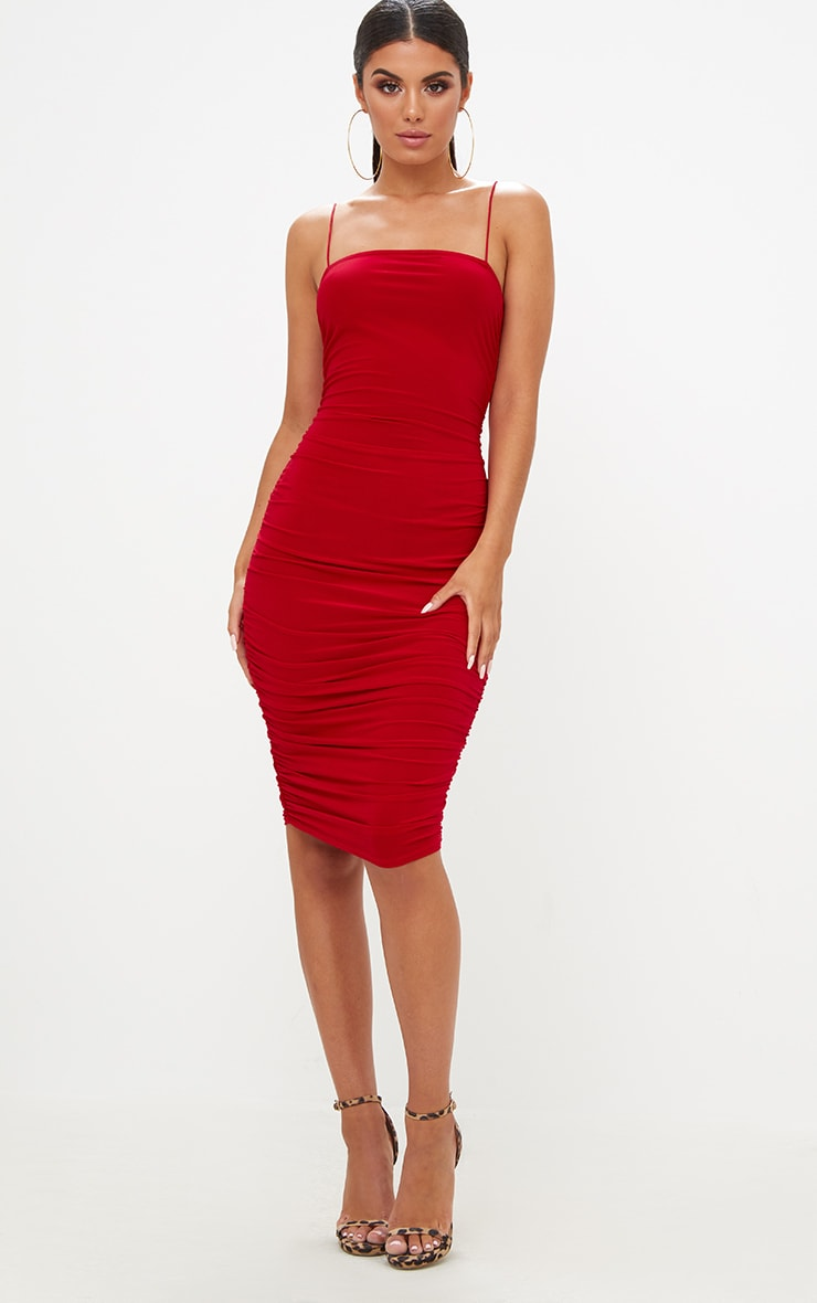 Red Slinky Ruched Midi Dress 4