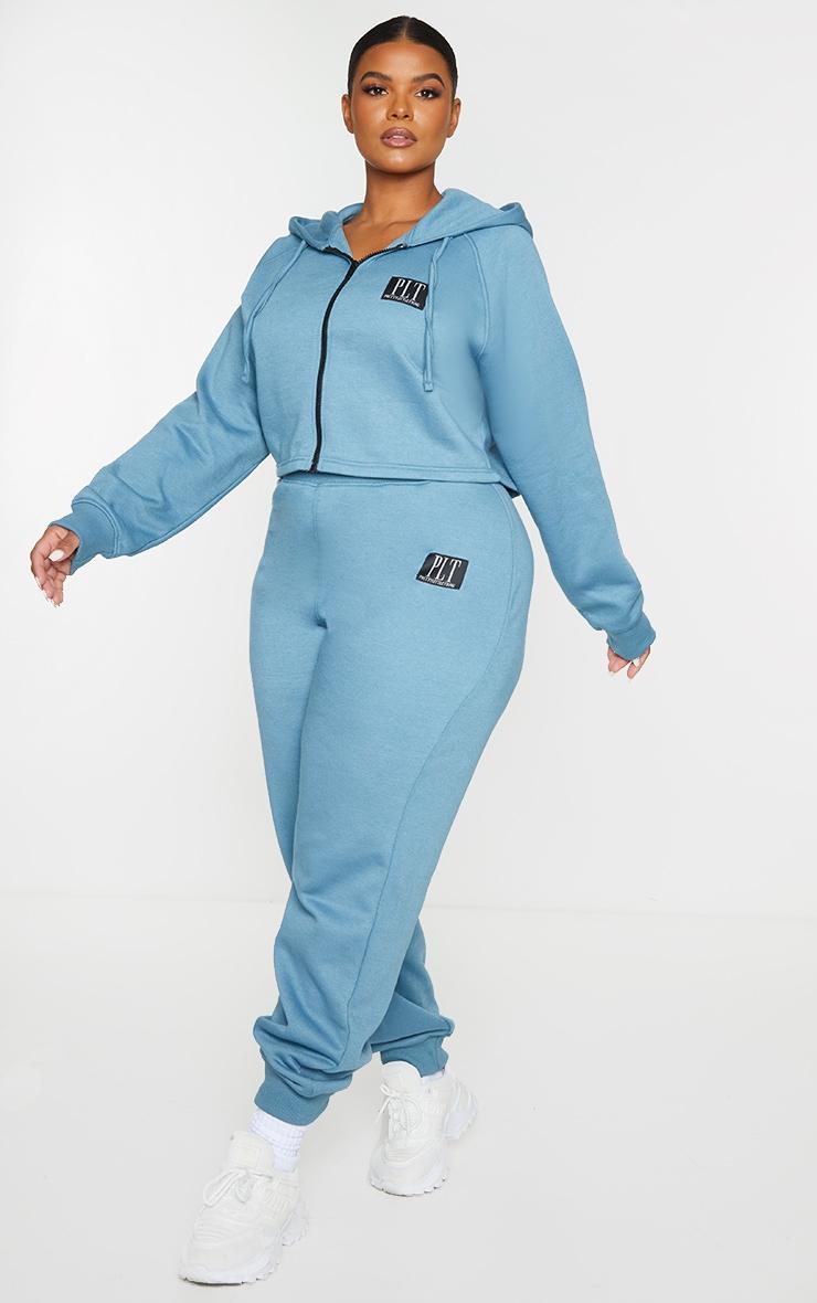 PRETTYLITTLETHING Plus Blue Badge Zip Up Cropped Hoodie 3