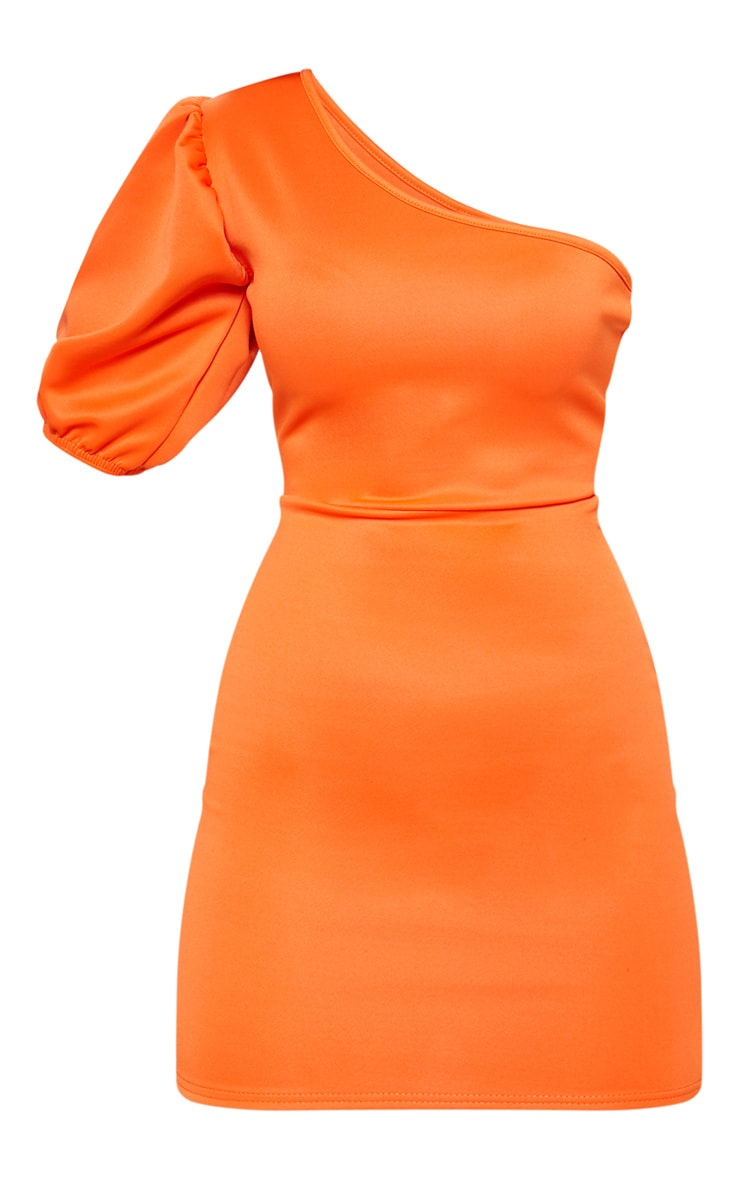 Bright Orange One Shoulder Puff Sleeve Bodycon Dress 3