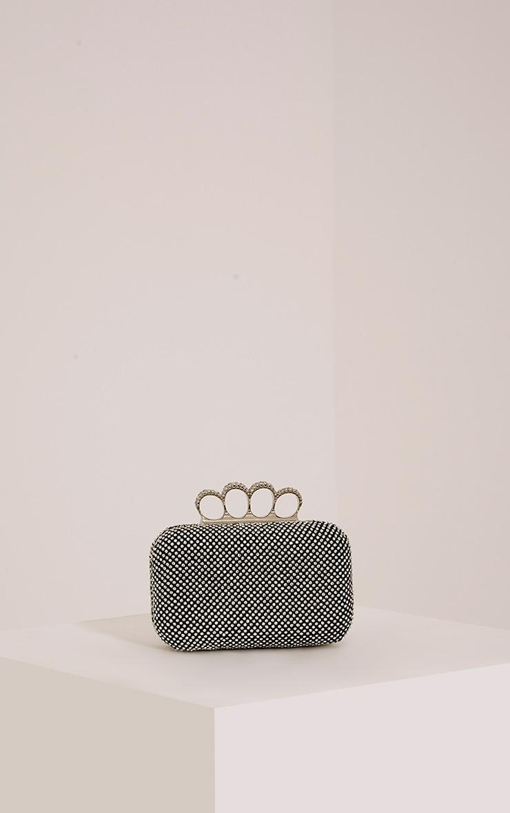 Noa Black Crystal Knuckle Duster Clutch Bag 1