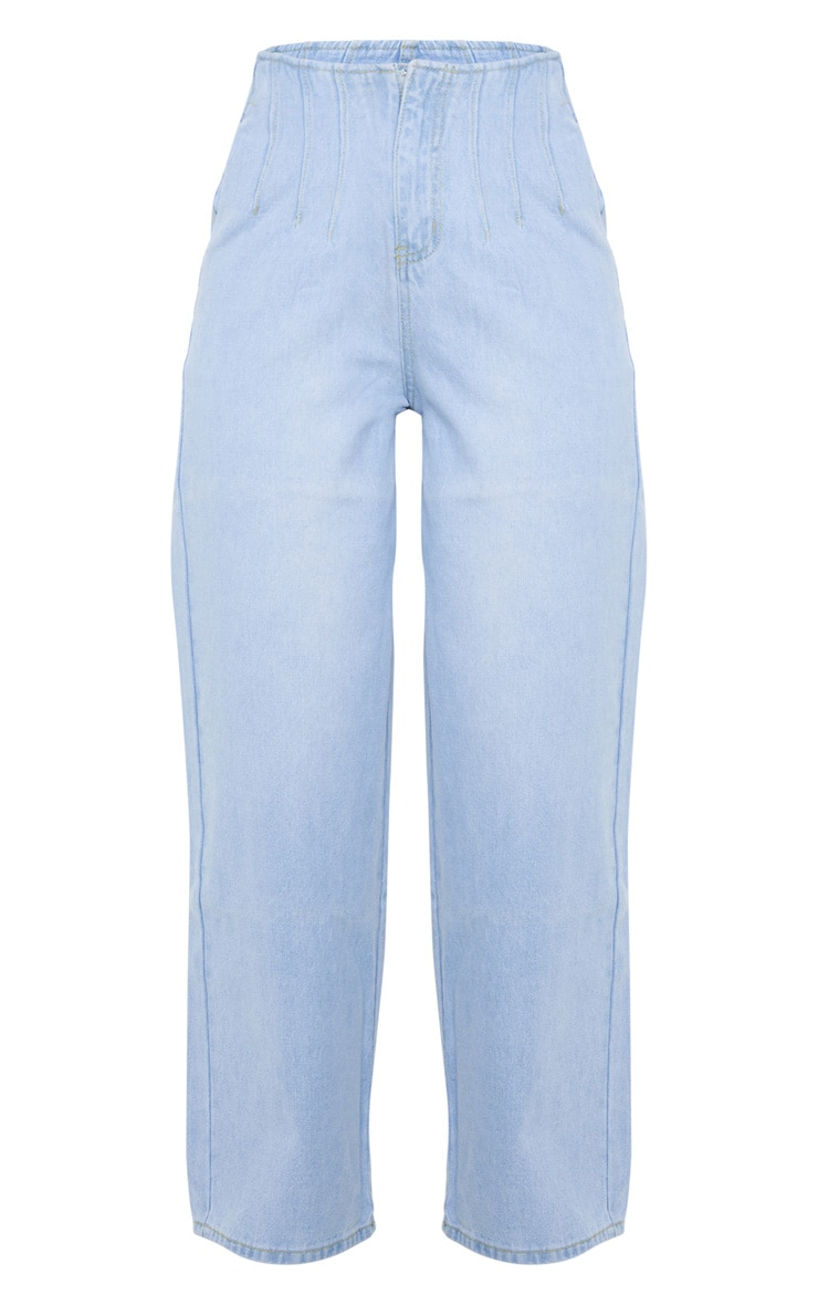 Light Wash Corset Seam Detail High Waisted Mom Jeans 4