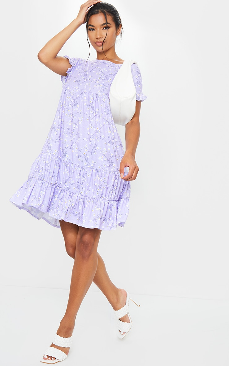 Lilac Ditsy Print Frill Sleeve Smock Dress 3