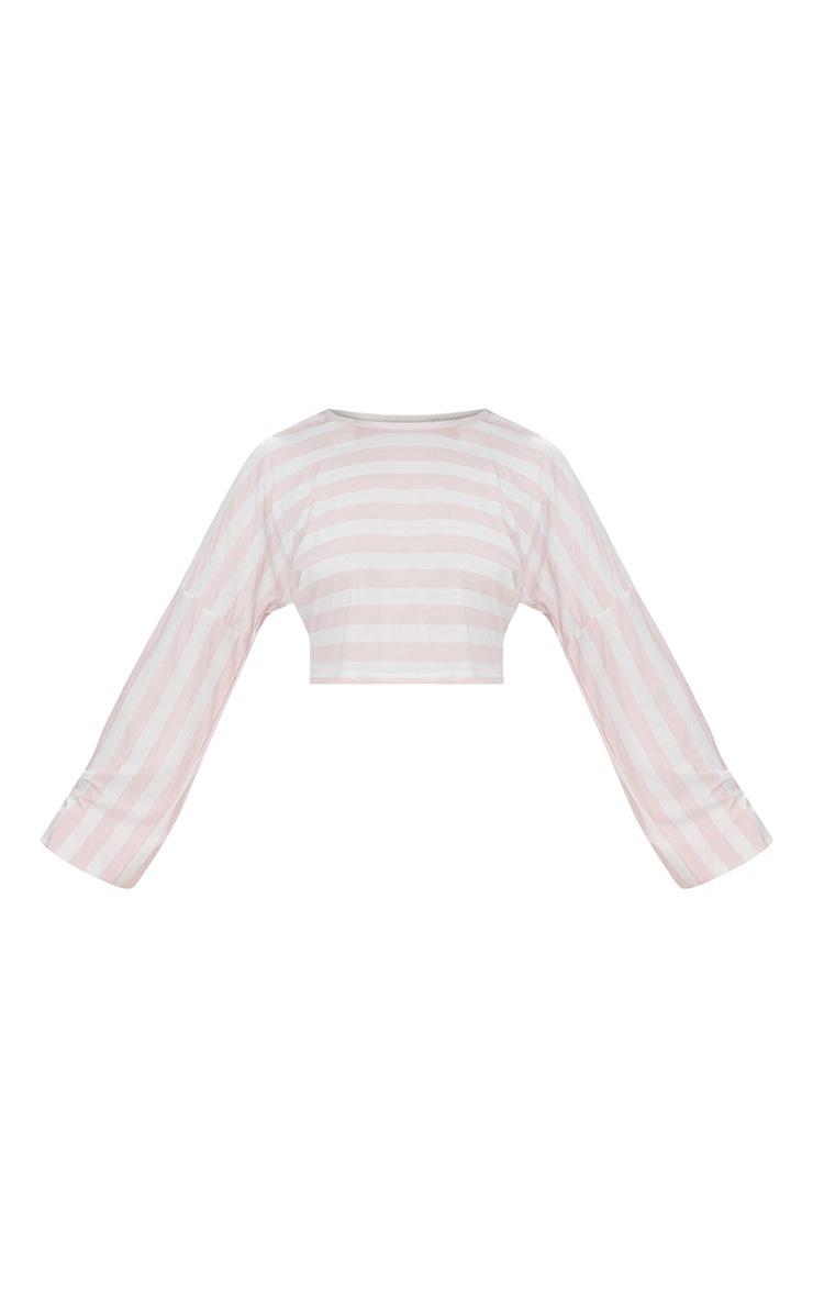White Gather Sleeve Stripe Crop Top  3