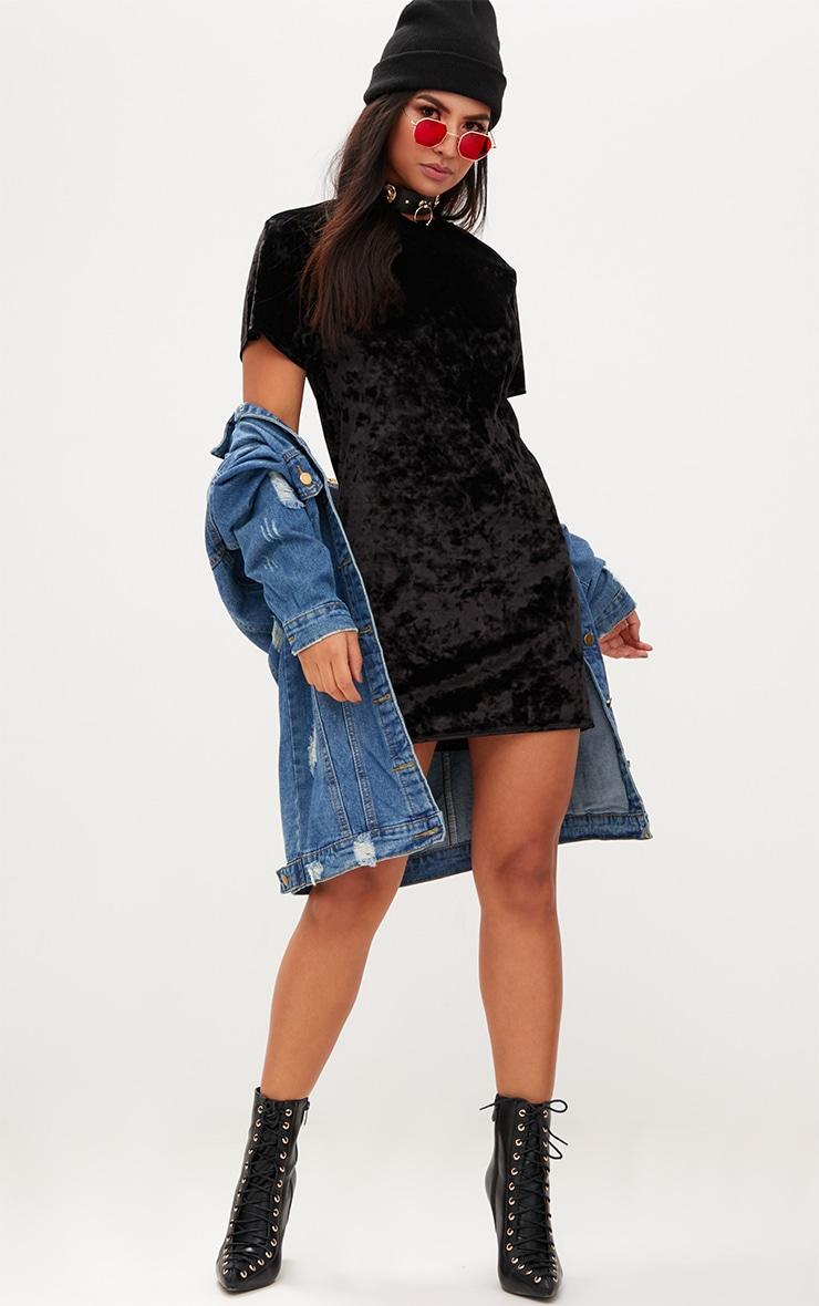 Black Velvet T Shirt Dress 4