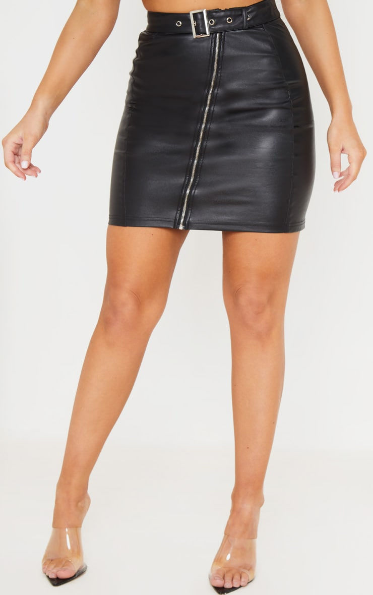Black Pu Zip Up Belt Detail Mini Skirt 3