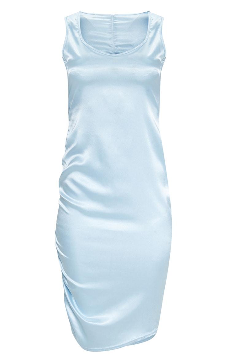 Baby Blue Ruched Satin Midi Dress 3