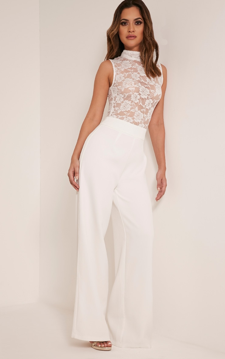 Miley White Sleeveless Lace Top Jumpsuit 4