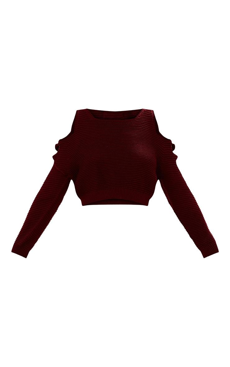 Burgundy Cut Out Shoulder Knitted Jumper 3