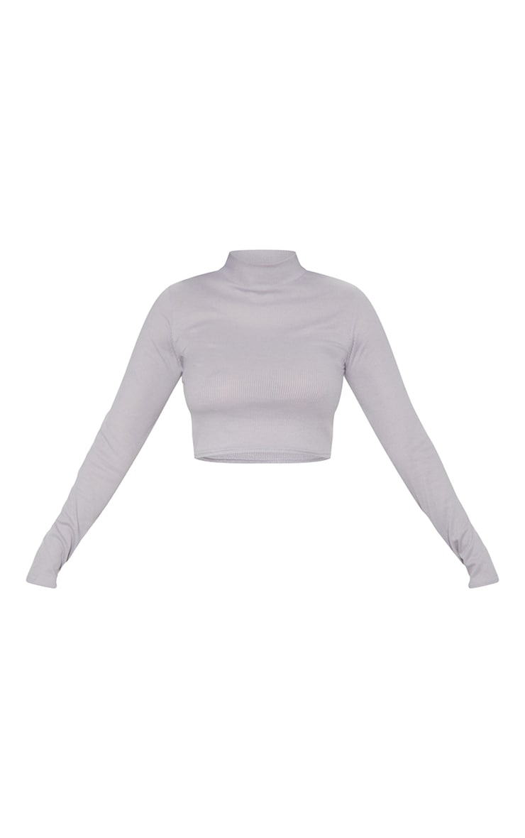 Grey Marl High Neck Rib Long Sleeve Crop Top 3