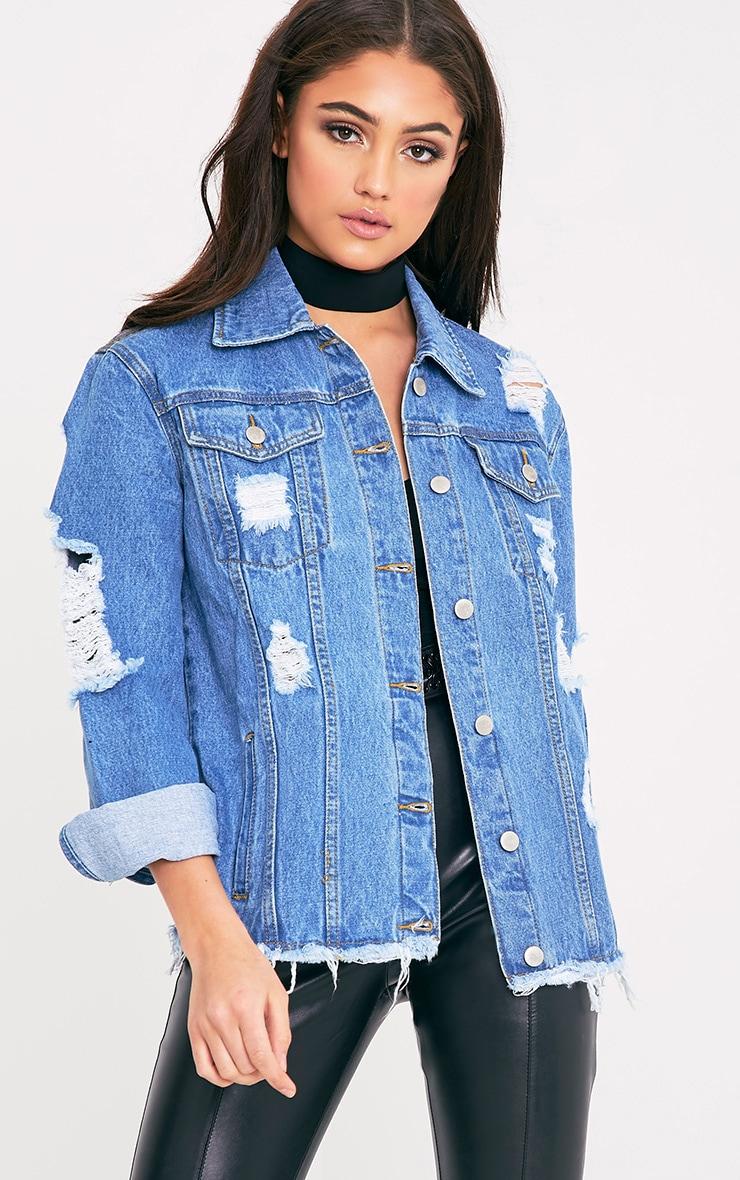 Abegaila Mid Wash Distress Oversized Denim Jacket